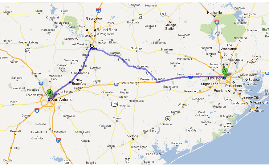 Distance from Houston, TX to San Antonio, TX with driving ...